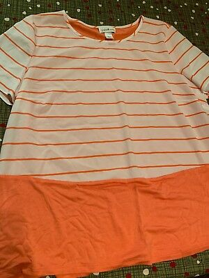 605247ca4ad Jaclyn Smith Collection Women s Short Sleeved Coral White Striped Top Size  Large
