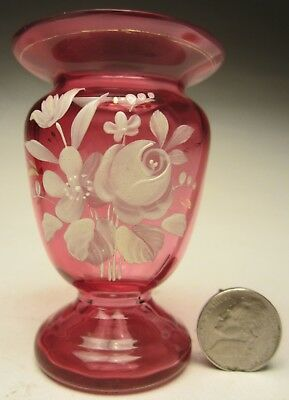 Czechoslovakian Miniature Cabinet or Favor Cranberry Vase HP with Enamel Flowers