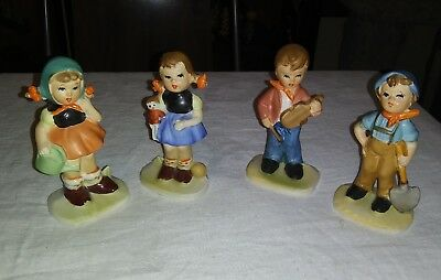 Lot of 4 Vintage Wales Japan Figurines Boy & Girl Ceramic Garden Gardener