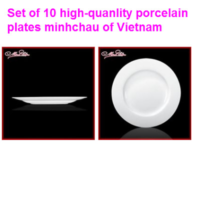 Minh Chau White Porcelain Round Dinner Plate set of 10, 8.7 inch Classic Europea