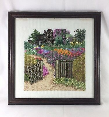 Country cottage garden hand made cross stitch embroidery needlepoint picture art