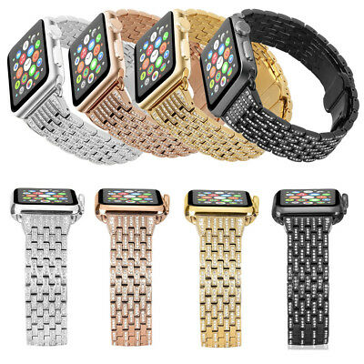Lady Bling Steel Watch Band Strap for Apple Watch iWatch 38-44mm Series 1 2 3 4