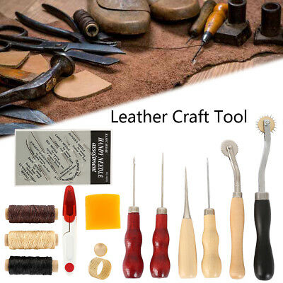 13Pcs Leder Werkzeug Leather Craft Hand Sewing Stitching Groover Tool Kits Set