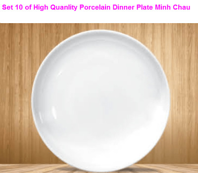 Minh Chau White Porcelain Round Dinner Plate set of 10,8.8 inch Classic European