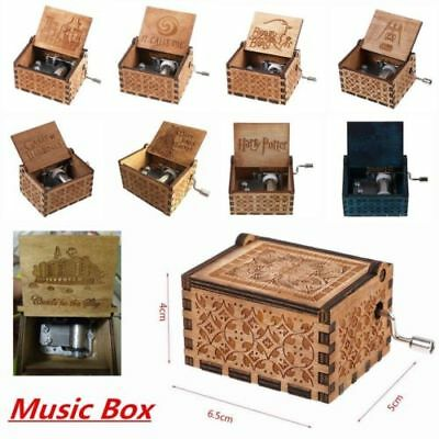 Mini Engraved Wooden Music Box Toys Gifts Hand Crank Vintage Box for Kids Lovers