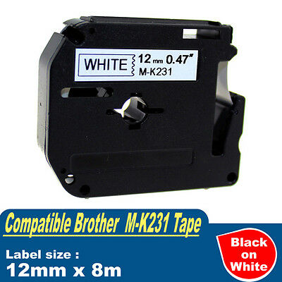 1x Compatible P-Touch MK Tape for Brother M-K231 Black on White PT70 PT80 PT90