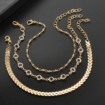 Gold Tone Women Three-layer Anklet Bracelet Foot Chain Summer Beach Jewelry HC