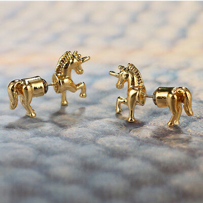 Gold Tone 3D Unicorn Earrings Horse Stud Flying Horse Pony Plug Believe HC