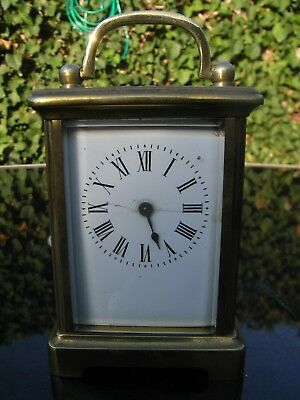 Antique R & C French Brass Cased Carriage Clock in Leather Case