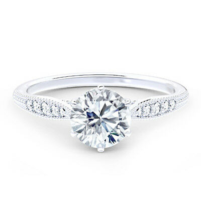 Round Cut 2.50 CT Diamond Engagement Wedding Solitaire Ring Solid 14K White Gold