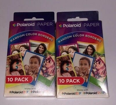 """NEW Zink Photo Paper 10 Pack by POLAROID 2X3"""" Random Color Border (2x10 Packs)"""