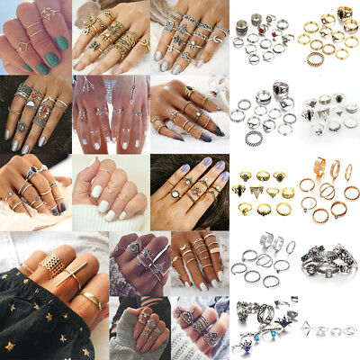 54 Styles Boho Gold Silver Ring Set Vintage Crystal Above Knuckle Band Midi Ring