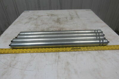 """1-7/8"""" OD x27-1/2 BF 2 Groove Power Conveyor Roller 7/16"""" Hex Axle Lot Of 4"""