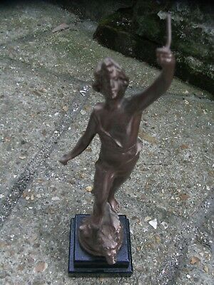 Antique Spelter Figure / Boy Standing on a Lion