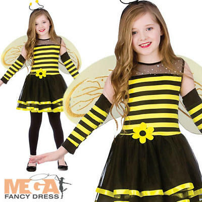 Bumblebee + Wings Girls Insect Fancy Dress Kids Animal Childs Bee Costume Outfit