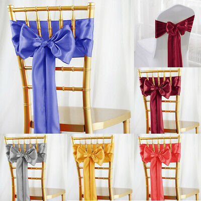 100 Satin CHAIR SASHES Ties Bows Wedding Party Catering Reception Decorations US