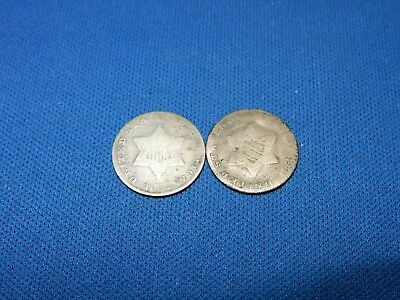 1852 & 1853 Silver 3-Cent Coins - About Good