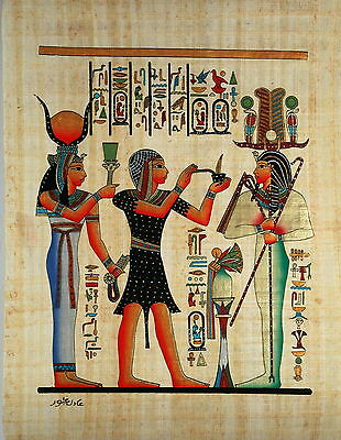 "Egyptian Papyrus - Hand Made - 12"" x 16"" - Seti I, The Priest And Hathor"