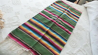 "Antique Vintage SALTILLO RUNNER Southwest, Stripes, Green, 48""x22"", Fringed"