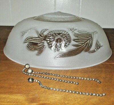 Vintage Art Deco Frosted White Glass Ceiling Light Cover Shade Globe with Chains
