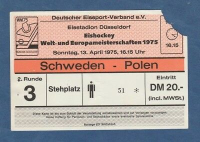 USA  ! Orig.Ticket  Eishockey WM Deutschland 1975  Finalrunde  FINNLAND TOP