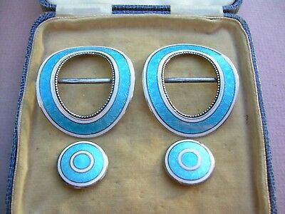 Antique Edwardian Pair of Silver Guilloche Enamel Buckles + Two Buttons.