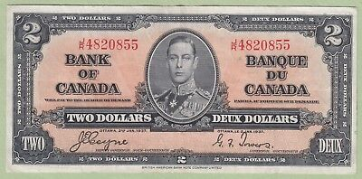 1937 Bank of Canada Two Dollar Note - Gordon/Towers - J/R4820855 - VF