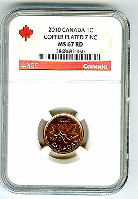 2010 Canada Cent Ngc Ms67 Rd Non Magnetic Zinc High Grade Issue Rare Red Label
