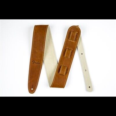 """NEW Fender 2.5"""" Ball Glove Leather Guitar Strap, BROWN - #099-0607-050"""
