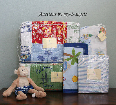 Pottery Barn Kids BLUE Island Patchwork Surf Beach Aloha Crib Quilt Baby Bedding