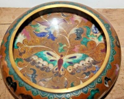 NICE! Vintage Kuo's Chinese Cloisonne Butterfly Bowl China