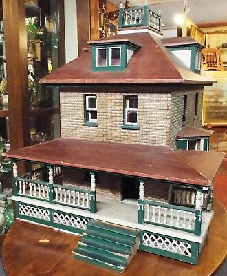 Old Antique LARGE Early 1900s Two Story Wooden DOLLHOUSE ~ALL ORIGINAL~