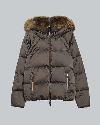NWT AUTHENTIC ZARA Down Jacket With Hood & Fur Collar BLUE/GREEN 4432/243 XS