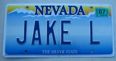 "Silver State  Nevada Vanity Auto License Plate "" Jake L "" Bear Lewis Lynch Lyon"