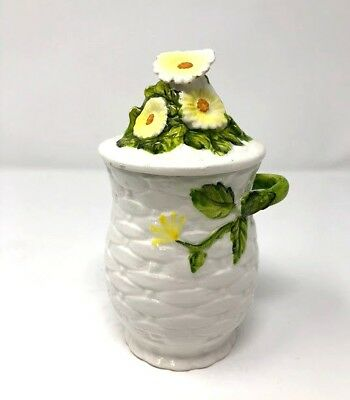 Vintage LEFTON Daisies Rustic Daisy Ceramic Coffee Canister 4116
