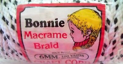 Bonnie Macrame Braid Polypropylene Craft Cord 6MM 100yds 91meters White w/ Black