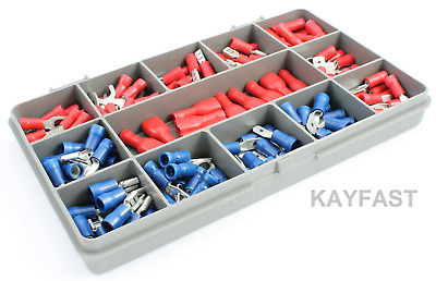 140 x ASSORTED INSULATED ELECTRICAL WIRE TERMINALS, CRIMP CONNECTORS SPADE KIT