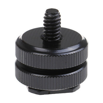 1/4 inch dual nut tripod mount screw to flash camera hot shoe adapter EC