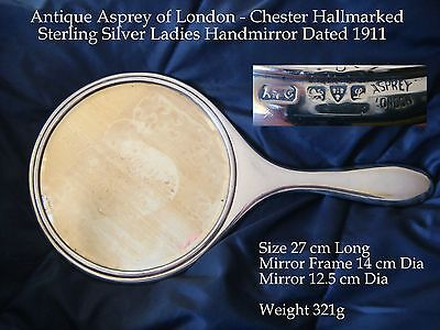 Antique Sterling Silver ASPREY`s Ladies Hand mirror with Chester hallmark 1911