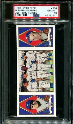 1993 Upper Deck All-Time Heroes #134 Babe Ruth-Mickey Mantle Psa 10 B2653932-511