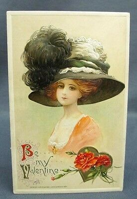 Antique Postcard 1911 Winsch Valentines Day Gibson Schmucker Girl Large Hat