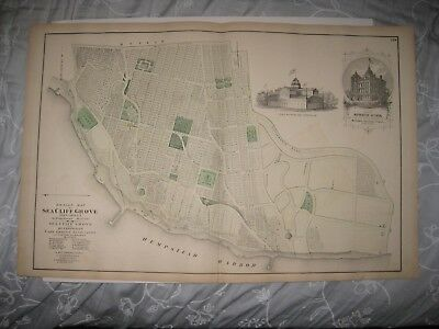 Antique 1873 Sea Cliff Oyster Bay Long Island New York Handcolored Map Superb Nr