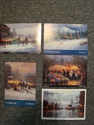 G Harvey  Collector Cards Five cards Western Scene-Lithograph Chrome