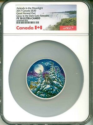 2017 Canada S$30 Animals In The Moonlight Great Horned Owl GITD NGC PF70 UC OGP