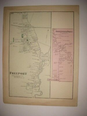 Vintage Antique 1873 Freeport Greenwich Point Hempstead Long Island New York Map
