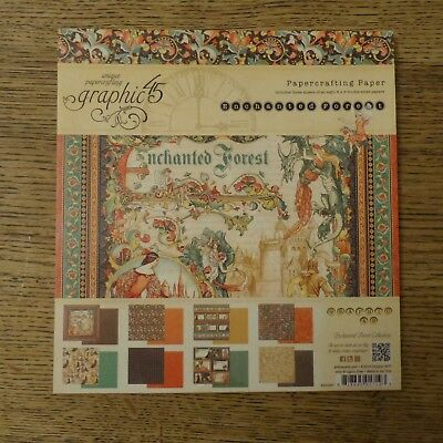 """NEW Graphic 45 8"""" x 8"""" Papercrafting Paper Pad Enchanted Forest 24 Sheets"""