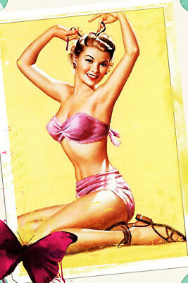 Vintage Fridge Toolbox Magnet (2x3) Classic Pin-up Girl Pose Butterfly Tie Hair