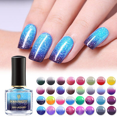 BORN PRETTY Thermal Polish Glitter Color-changing Nail Varnish Starry Shiny Red