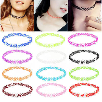 12pcs Fashion Stretch Tattoo Lace Choker Necklace Retro Gothic Elastic 80s 90s #