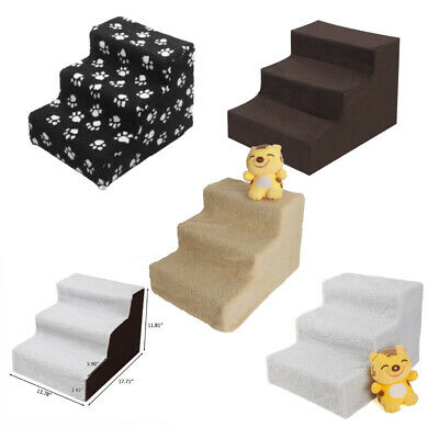 Pet Stairs 3 Step Portable Dog Ladder Indoor Small Ramp Steps Stair Fleece Cover